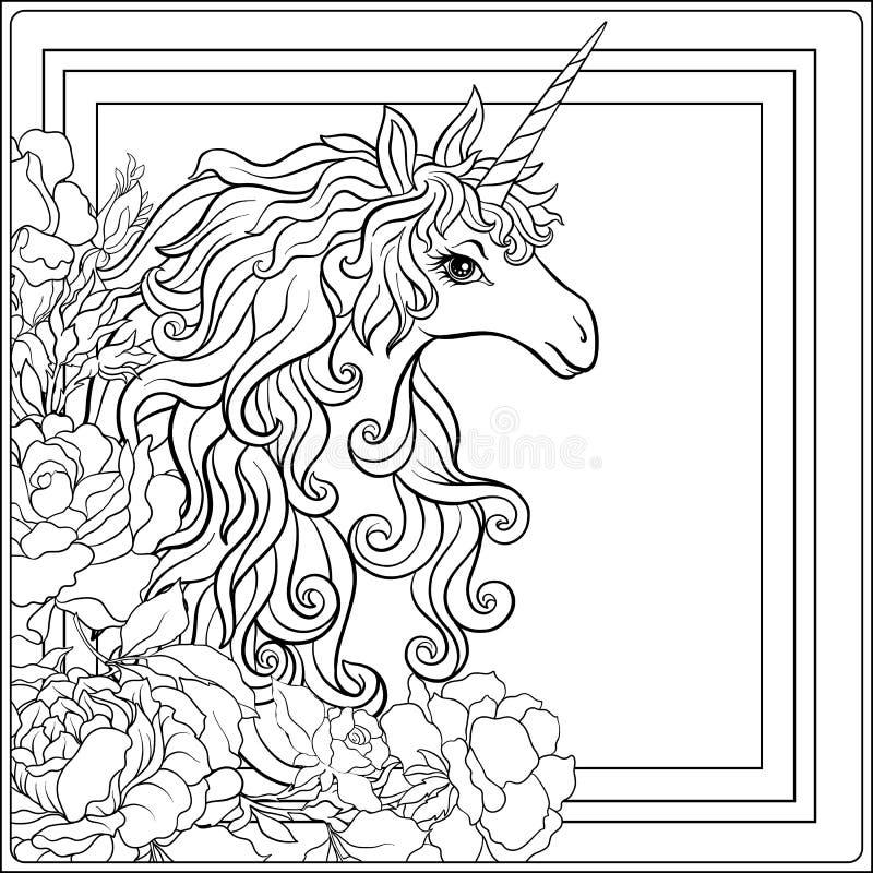 unicorn Die Zusammensetzung besteht aus einem Einhorn, das durch ein b umgeben wird vektor abbildung