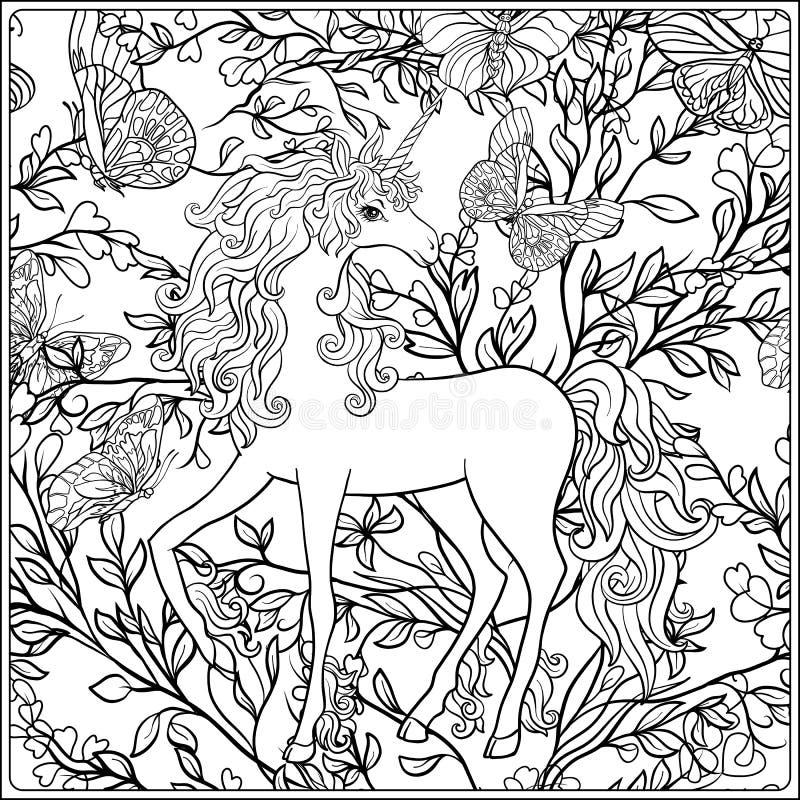 unicorn Die Zusammensetzung besteht aus einem Einhorn, das durch einen Blumenstrauß von Rosen umgeben wird stock abbildung