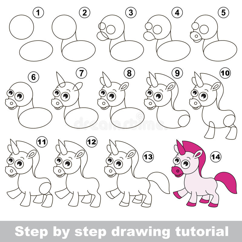 Download unicorn drawing tutorial stock vector illustration of unicorn 69451009