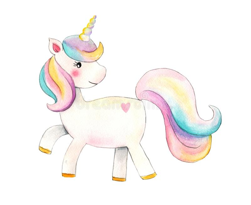 unicorn Ejemplo hermoso del unicornio de la acuarela Caballo de moda mágico de la historieta perfecto para el diseño de la impres imágenes de archivo libres de regalías