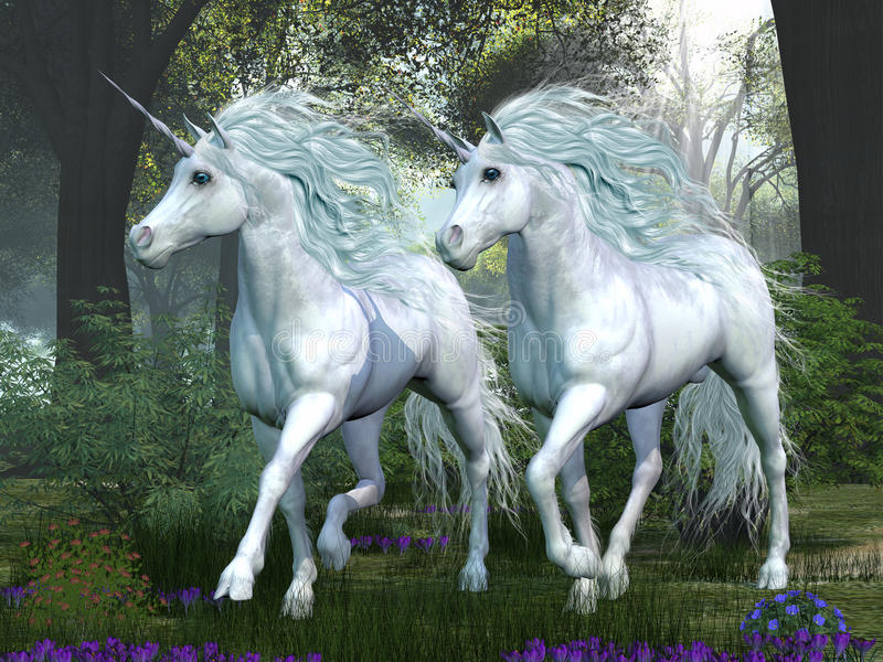 Unicorn Elm Forest royaltyfri illustrationer