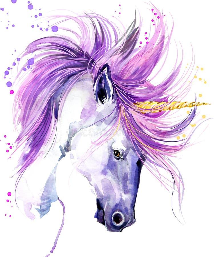 unicorn Enhörningvattenfärgillustration Magisk enhörning EnhörningT-tröjatryck stock illustrationer
