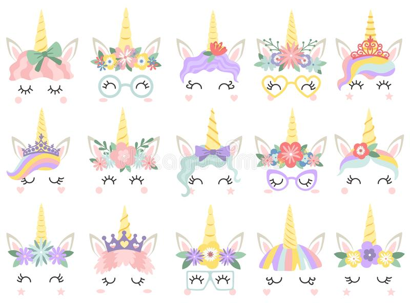 Unicorn face. Beautiful pony unicorns faces, magic horn in rainbow flower wreath and cute eyelashes vector illustration. Unicorn face. Beautiful pony unicorns vector illustration