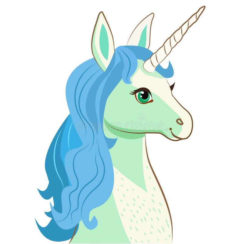 Unicorn Face Beeldverhaalvector Motivatiekaart met Leuke Eenhoorn Unicorn Face Emoji Unicorn Face Mask stock illustratie