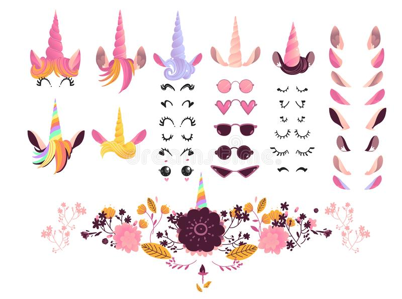 Unicorn face creation kit vector illustration - cartoon elements for creation of magic fairy animal. stock illustration