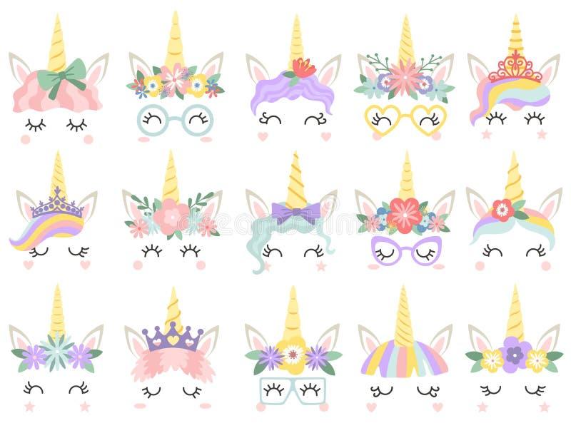 Unicorn Face Härliga ponnyenhörningar vänder mot, det magiska hornet i regnbågeblommakrans och den gulliga ögonfransvektorillustr vektor illustrationer
