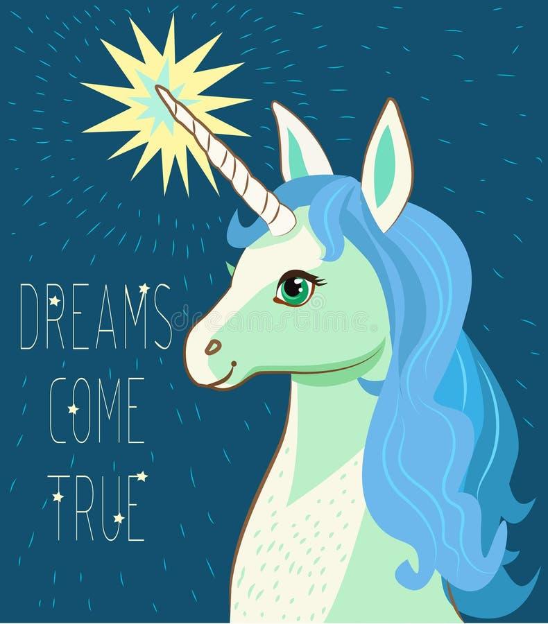 Unicorn Face Karikaturvektor Motivations-Karte mit Sternen, Dekor-Elemente, netter Unicorn And Text Dreams Come wahr lizenzfreie abbildung