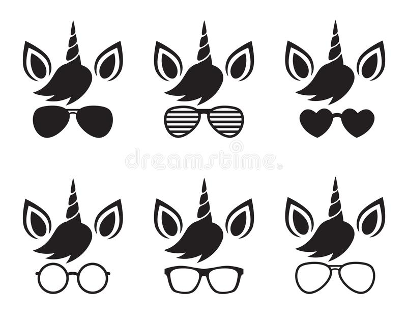 Unicorn Face Wearing Glasses and Sunglasses Silhouette Vector vector illustration
