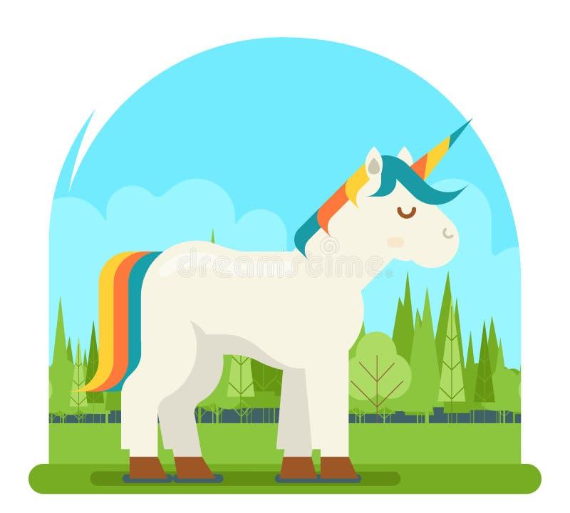Unicorn Fantasy Horse Wood Background-van de het Ontwerp 3d Visuele Digitale Ervaring van het Beeldverhaalkarakter de Vlakke Vect stock illustratie