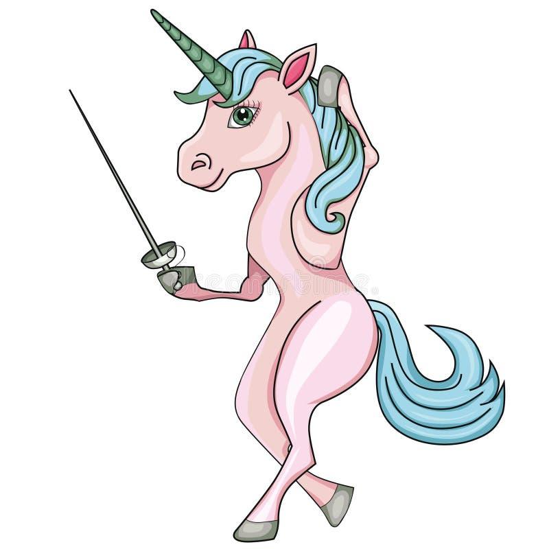 Free Unicorn Fencer. Cartoon Style. Image On White Background. Royalty Free Stock Photo - 107320455