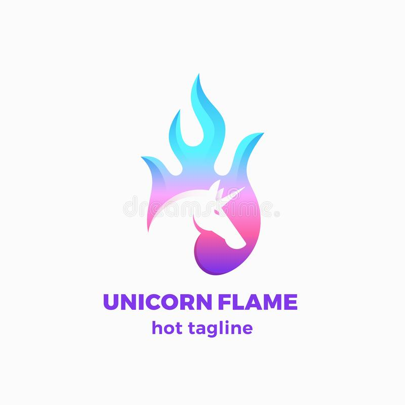 Unicorn Flame Abstract Vector Sign, símbolo o Logo Template El espacio negativo Unicorn Sillhouette en un fuego forma con stock de ilustración