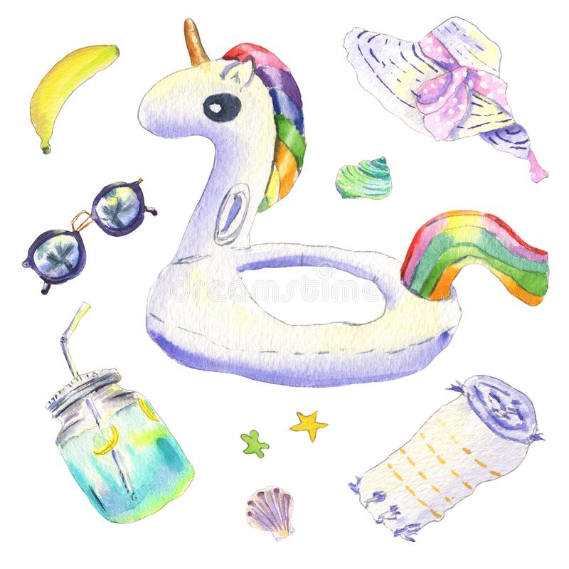 Unicorn float watercolor stock images