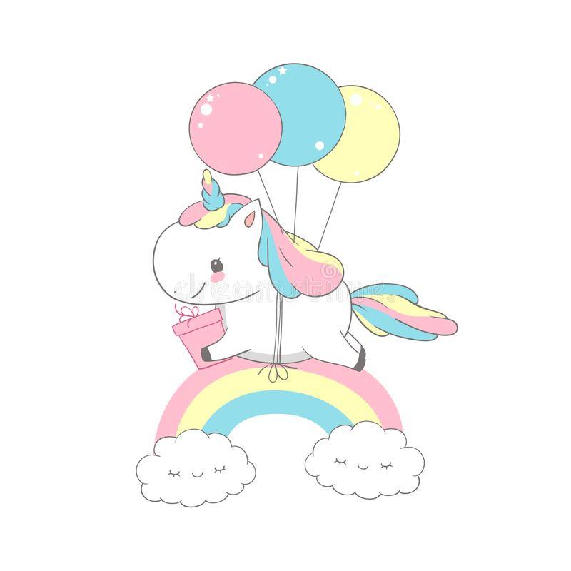 Free Unicorn Flying Balloons Over Rainbow Birthday Card. Happy Little Pony Hold Gift. Can Be Used For T-shirt Print, Kids Stock Image - 134756531