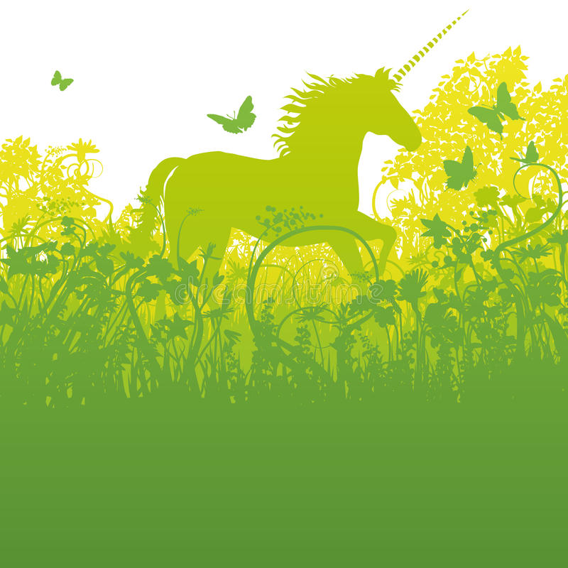 Unicorn in the forest vector illustration
