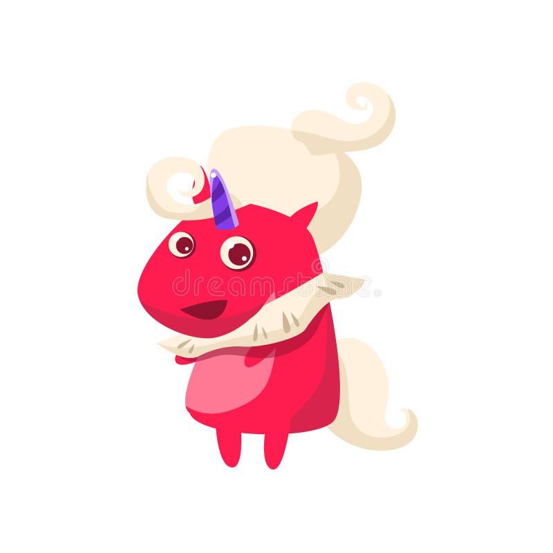Unicorn In Futuristic Costume rouge illustration de vecteur
