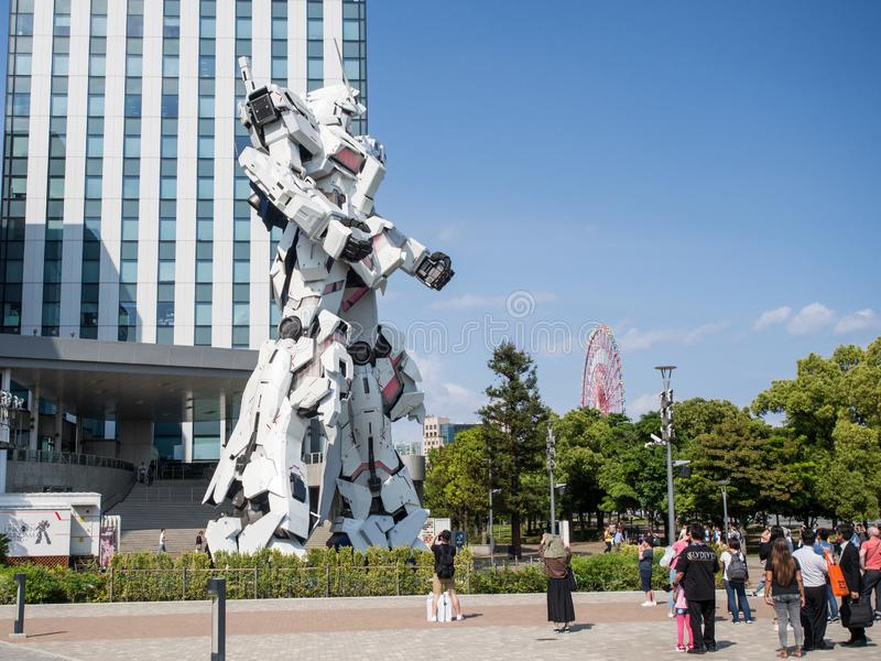 Unicorn Gandam Statue Odaiba, Tokyo, Japan arkivfoto