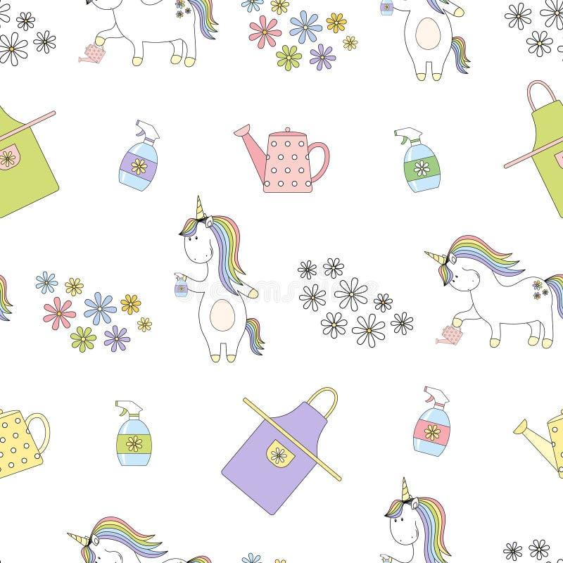 2018 04 26_unicorn garden_P1 royaltyfri illustrationer