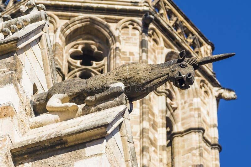 Unicorn Gargoyle, Plaza del Rey Quarto gótico Barcelona Spai fotos de stock royalty free