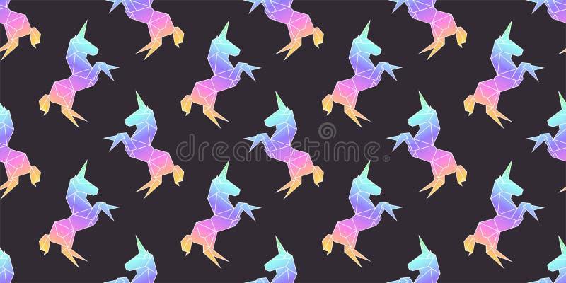 Unicorn rainbow in geometry origami polygonal Style pattern vector illustration