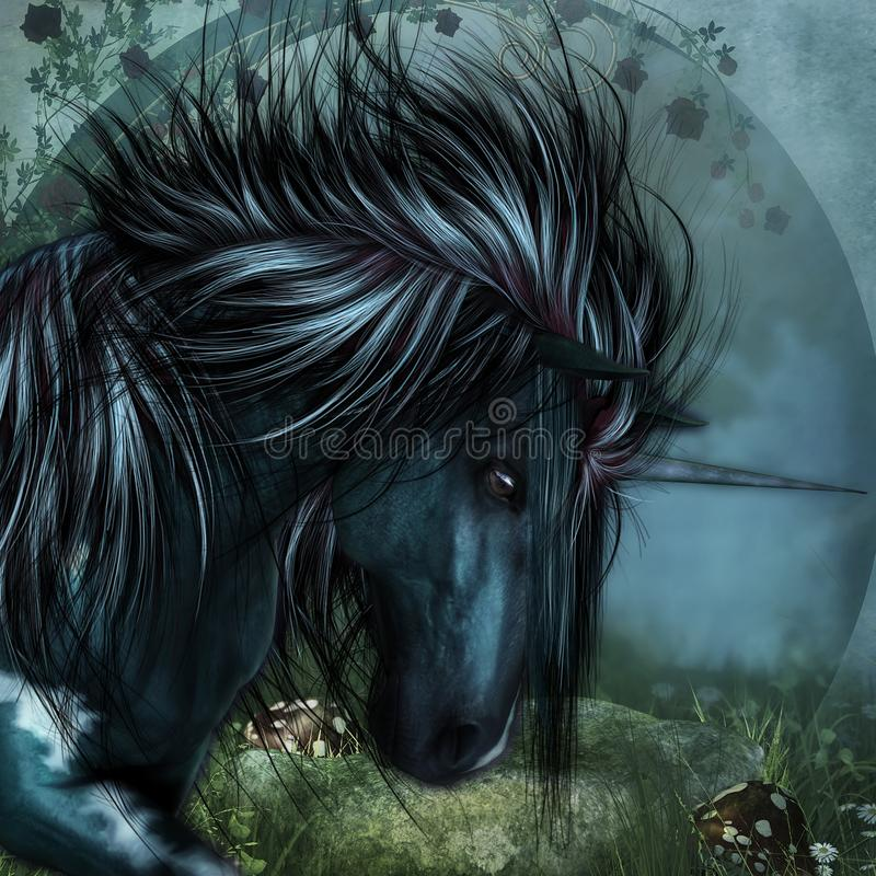 Unicorn Gothic Fantasy Unicorn royalty-vrije illustratie