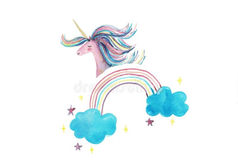 unicorn Gullig rosa vattenfärgenhörning och moln, regnbåge Ställ in av vattenfärgobjekt med enhörningen som isoleras på vit vektor illustrationer