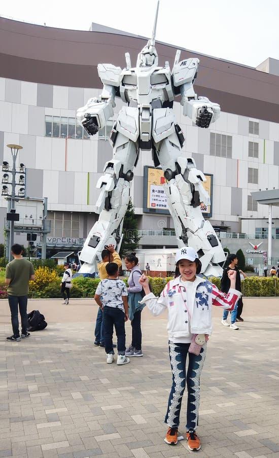 Unicorn Gundam robot statue royalty free stock image