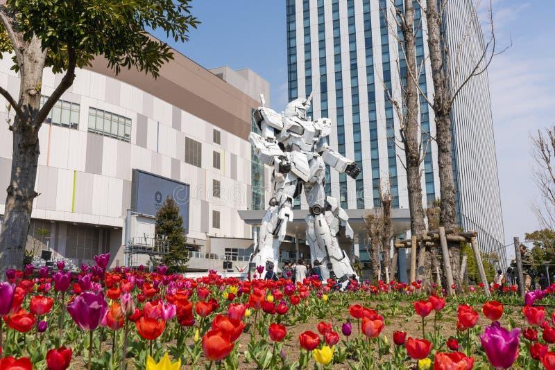 Unicorn Gundam Statue en Tokio imágenes de archivo libres de regalías
