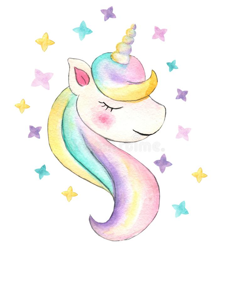 unicorn H?rlig vattenf?rgenh?rningillustration Magisk moderiktig tecknad filmh?st som ?r perfekt f?r barnkammaretryck- och affisc fotografering för bildbyråer