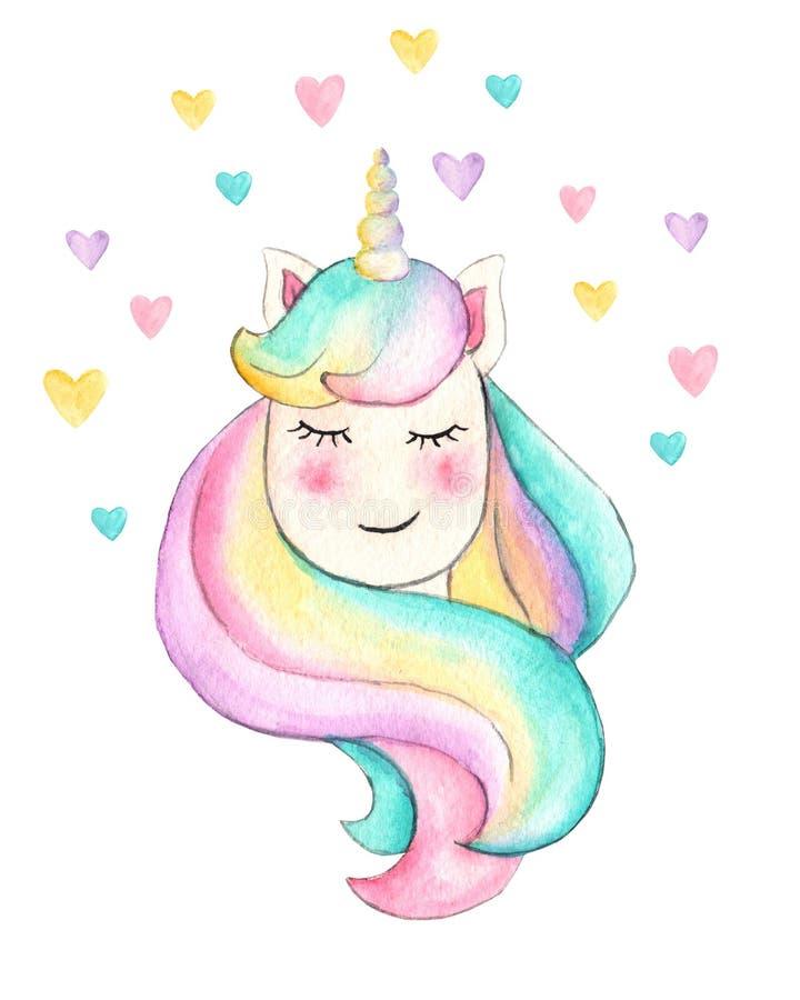 unicorn H?rlig vattenf?rgenh?rningillustration Magisk moderiktig tecknad filmh?st som ?r perfekt f?r barnkammaretryck- och affisc royaltyfri bild