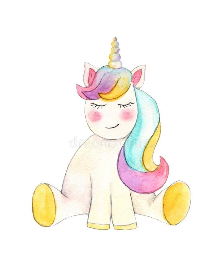unicorn H?rlig vattenf?rgenh?rningillustration Magisk moderiktig tecknad filmh?st som ?r perfekt f?r barnkammaretryck- och affisc royaltyfria bilder