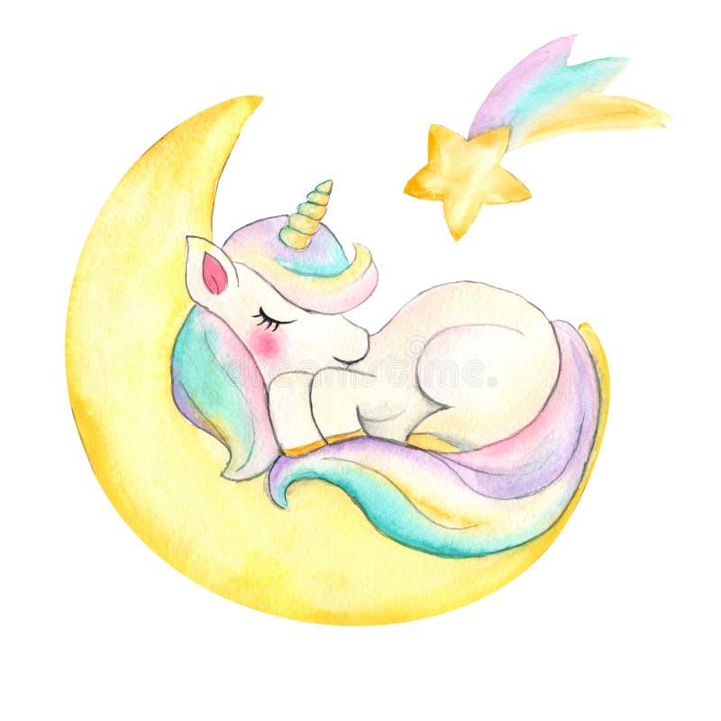 unicorn H?rlig vattenf?rgenh?rningillustration Magisk moderiktig tecknad filmh?st som ?r perfekt f?r barnkammaretryck- och affisc royaltyfri fotografi