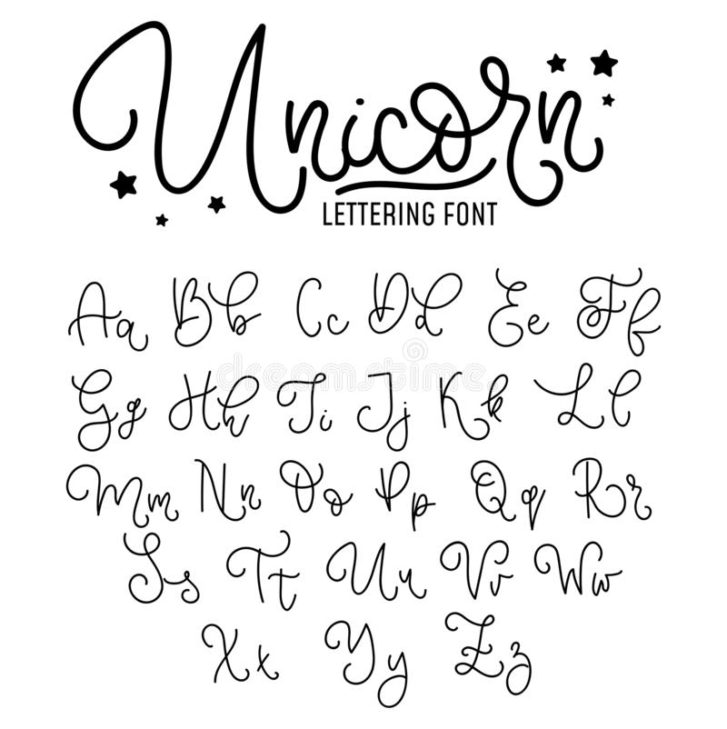 Unicorn hand drawn font design. Cute alphabet with flourish details. Vector unicorn alphabet stock illustration