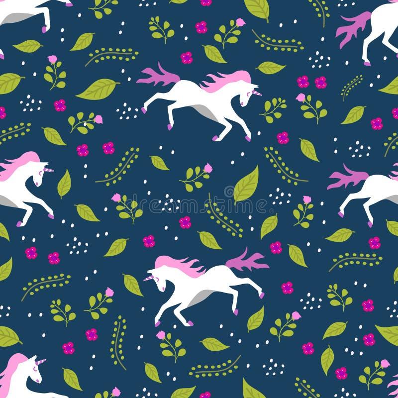 Unicorn hand drawn seamless pattern vector illustration ready for fashion textile print. Design pony cute fabric background childish cartoon baby animal graphic vector illustration