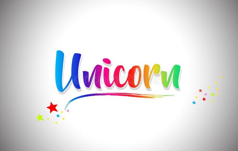 Unicorn Handwritten Word Text con i colori dell'arcobaleno e vibranti mormorano illustrazione vettoriale