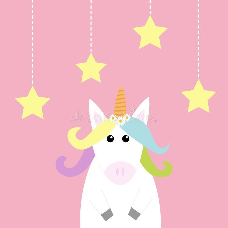 Unicorn Hanging protagoniza la línea de la rociada Pelo del arco iris del color en colores pastel, manzanilla de la margarita bla stock de ilustración