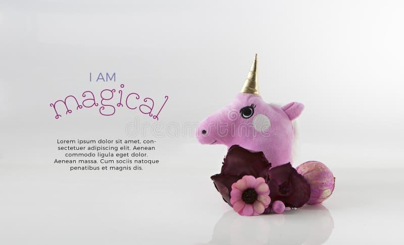 Unicorn Head Card Template mignon photo stock