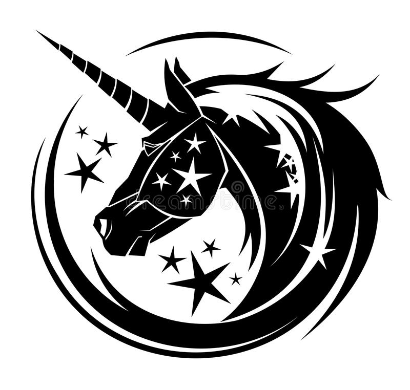 Unicorn head circle tattoo illustration vector illustration