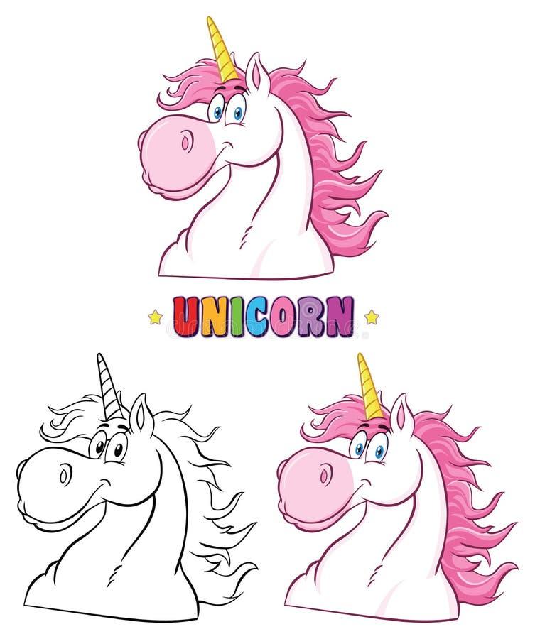 Unicorn Head Classic Character Set mágico coleção ilustração do vetor