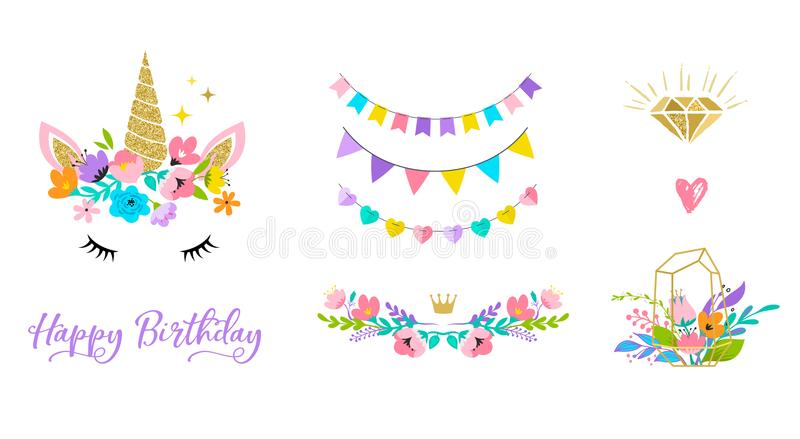 Unicorn head with flowers - card and shirt design stock illustration