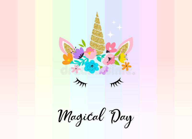 Unicorn head with flowers - card and shirt design royalty free illustration
