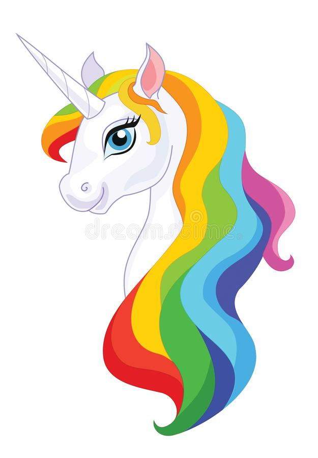 Unicorn head isolated on white background. Vector illustration. royalty free illustration