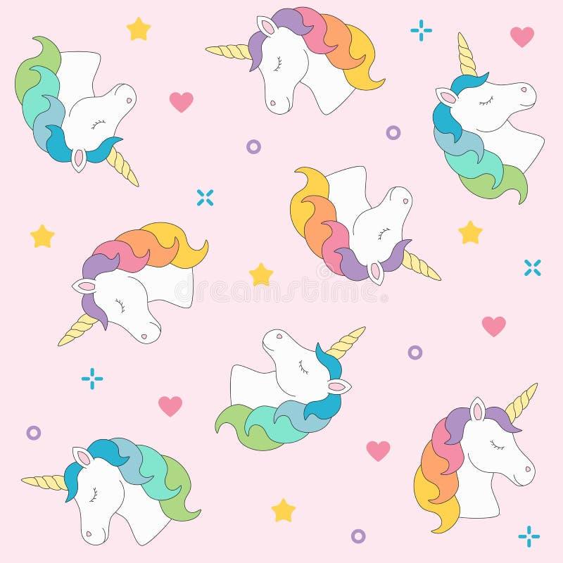 Unicorn head seamless pattern colorful on pink background royalty free illustration