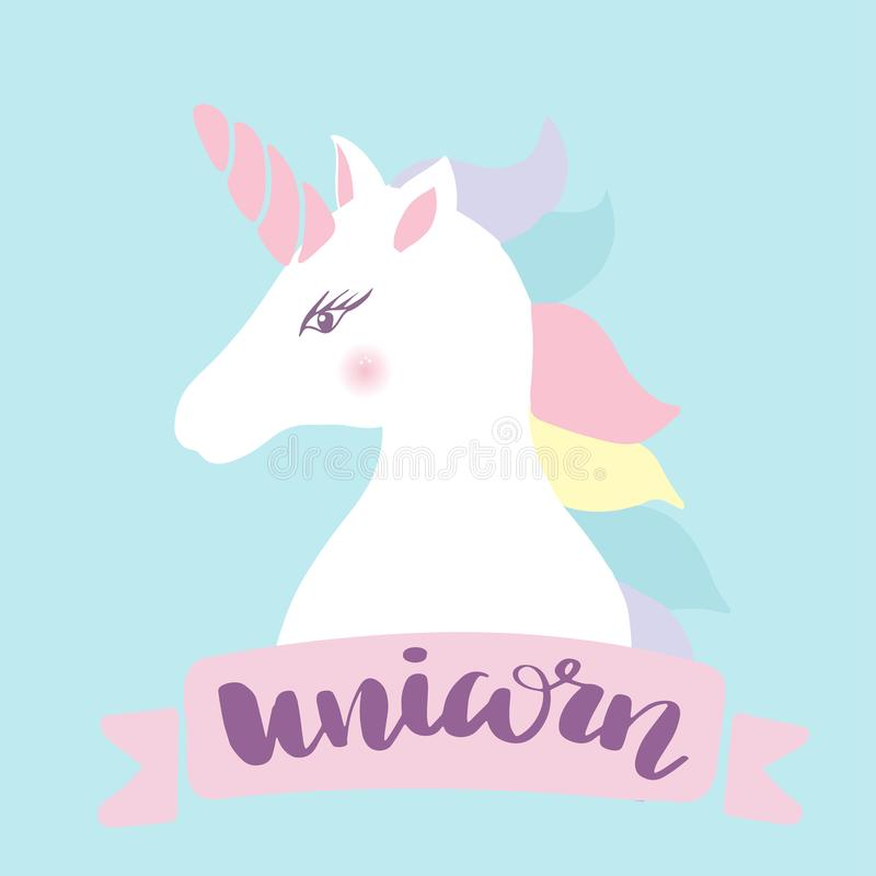 Unicorn head silhouette . Vector hand drawn Inspirational illustration for print, banner, poster. Magic everywhere royalty free illustration