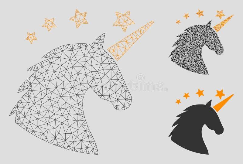 Unicorn Head Vector Mesh Wire-Rahmen-Modell-und Dreieck-Mosaik-Ikone lizenzfreie abbildung