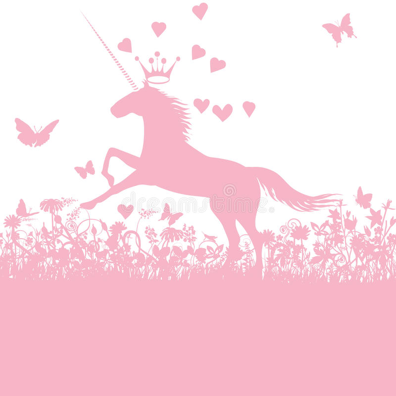 Unicorn with heart and love vector illustration