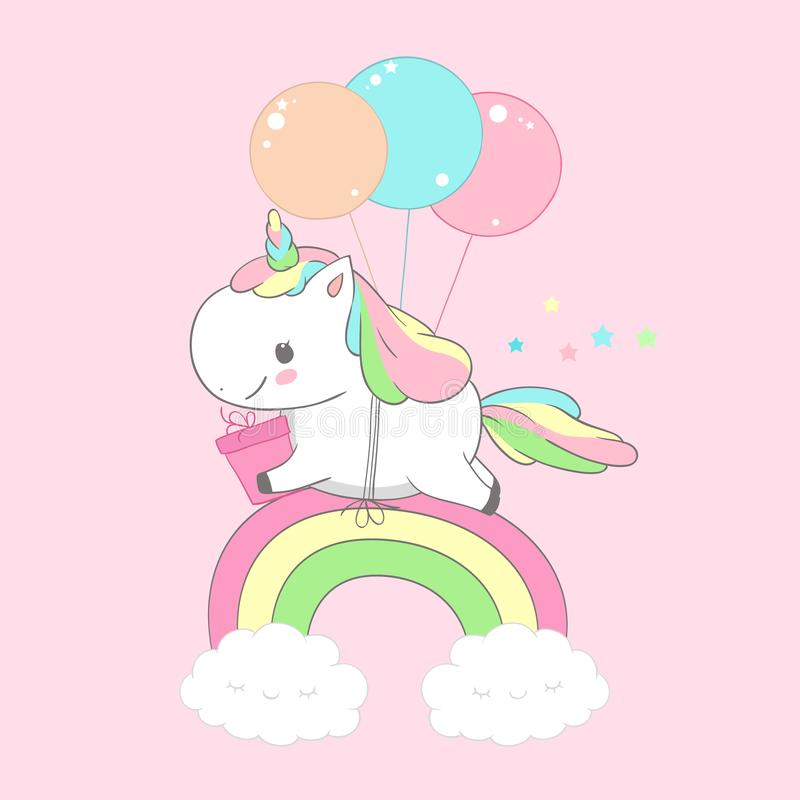 Unicorn Holding Present Over Rainbow födelsedagkort Lyckliga lilla Pony Fly på ballongen Barnferie som hälsar magi stock illustrationer