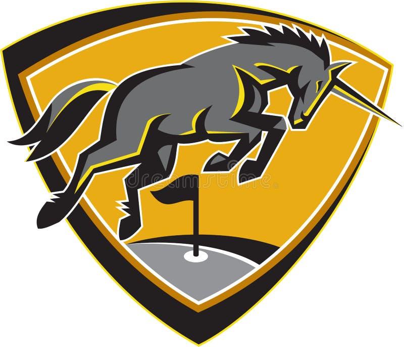 Unicorn Horse Charging Golf Course preto retro ilustração do vetor