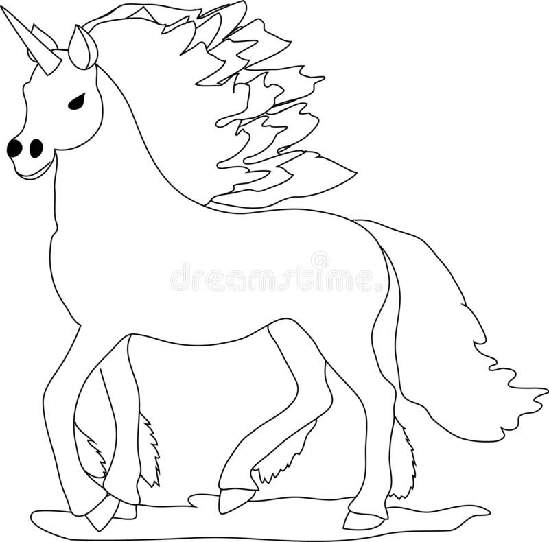 Unicorn. Horse. Powerful. Cartoon character for kids. royalty free illustration