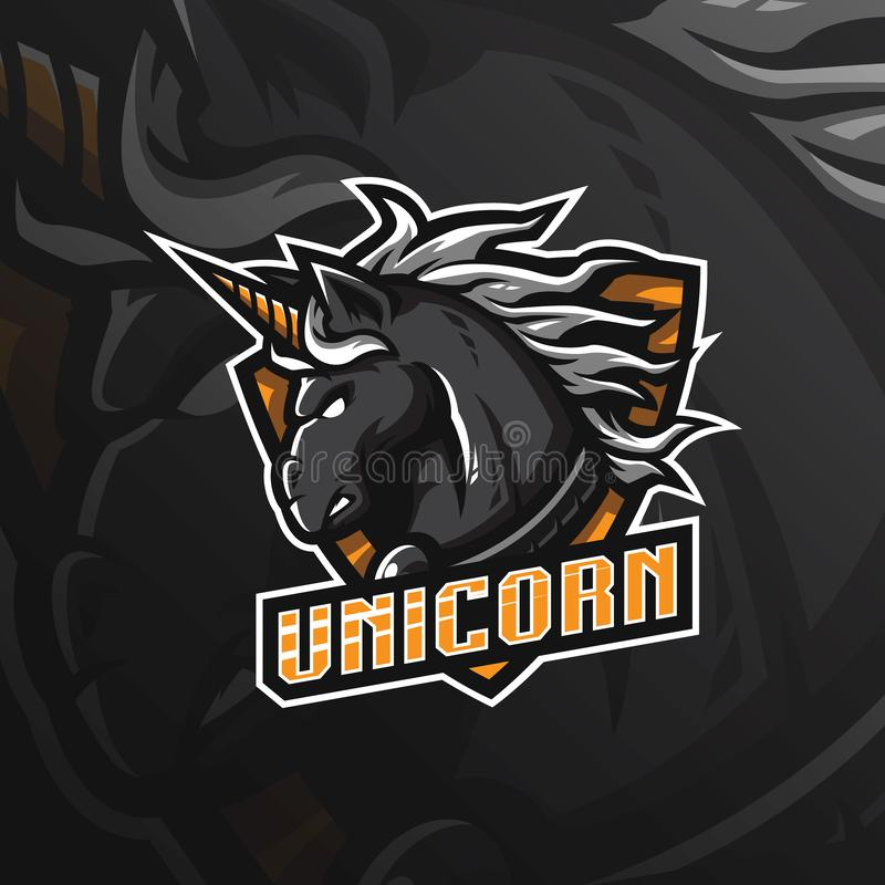 Unicorn horse vector mascot logo design with modern illustration concept style for badge, emblem and tshirt printing. angry. Unicorn illustration for sport and vector illustration