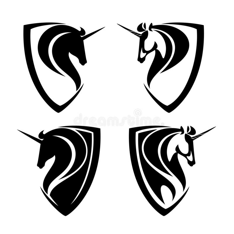 Unicorn horses heraldic vector design set. Mythical unicorn horses heads and heraldic shields simple black and white vector design set royalty free illustration